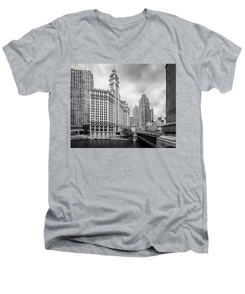 Men's V-Neck T-Shirt featuring the photograph Wrigley Building Chicago by Adam Romanowicz