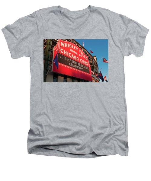 Wrigley Field Marquee Angle Men's V-Neck T-Shirt by Steve Gadomski