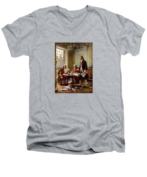 Writing The Declaration Of Independence Men's V-Neck T-Shirt by War Is Hell Store