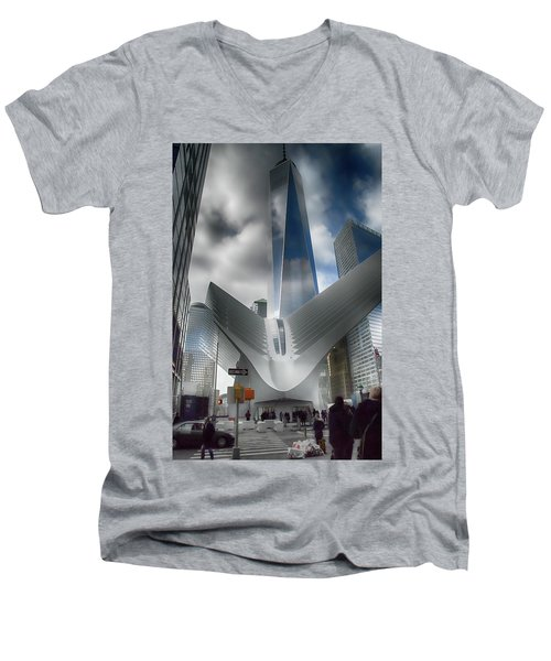 Wtc Oculus - Freedom Tower Men's V-Neck T-Shirt by Dyle Warren