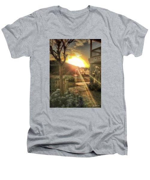 Men's V-Neck T-Shirt featuring the photograph Wu Wu's Beach by Phil Mancuso