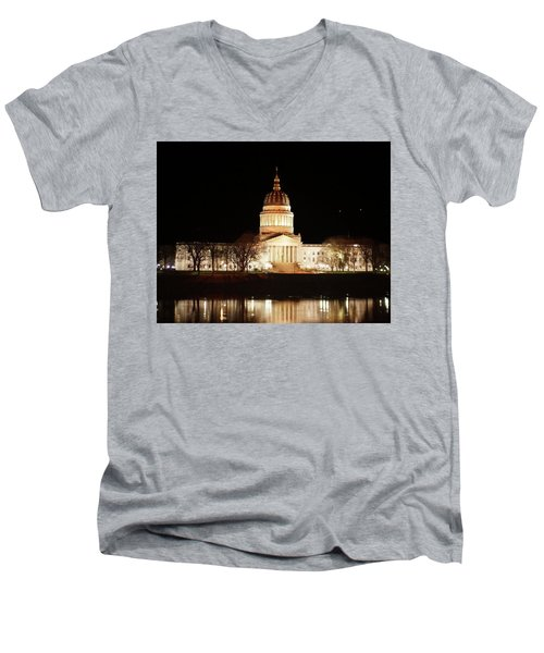 Men's V-Neck T-Shirt featuring the photograph Wv Capital Building by B Wayne Mullins