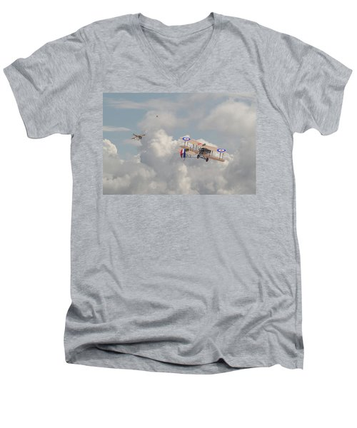Men's V-Neck T-Shirt featuring the photograph Ww1 - The Fokker Scourge - Eindecker by Pat Speirs