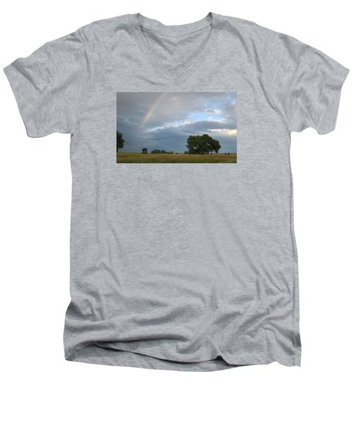 Wyoming Rainbow Men's V-Neck T-Shirt by Diane Bohna