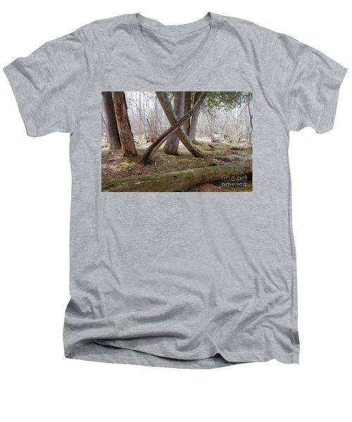 X Marks The Spot Men's V-Neck T-Shirt by Sandra Updyke