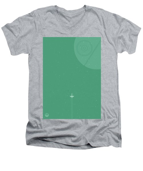 X-wing Meets Death Star Men's V-Neck T-Shirt