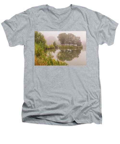 Misty Pond Bridge Reflection #5 Men's V-Neck T-Shirt