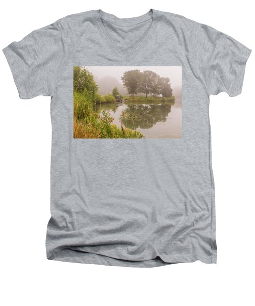 Misty Pond Bridge Reflection #5 Men's V-Neck T-Shirt