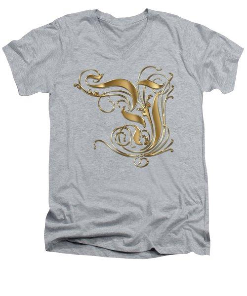 Y Ornamental Letter Gold Typography Men's V-Neck T-Shirt