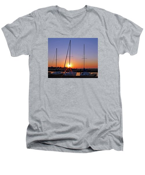 Men's V-Neck T-Shirt featuring the photograph Yacht Club Sunrise by Judy Vincent