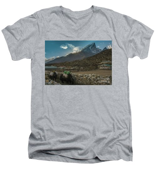 Men's V-Neck T-Shirt featuring the photograph Yaks Moving Through Dingboche by Mike Reid