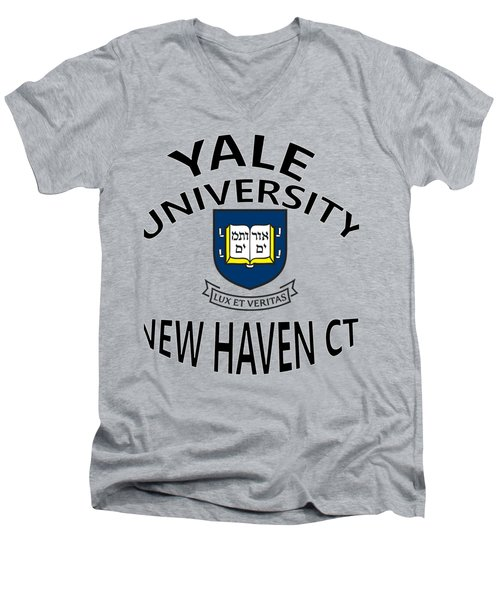 Yale University New Haven Connecticut  Men's V-Neck T-Shirt by Movie Poster Prints
