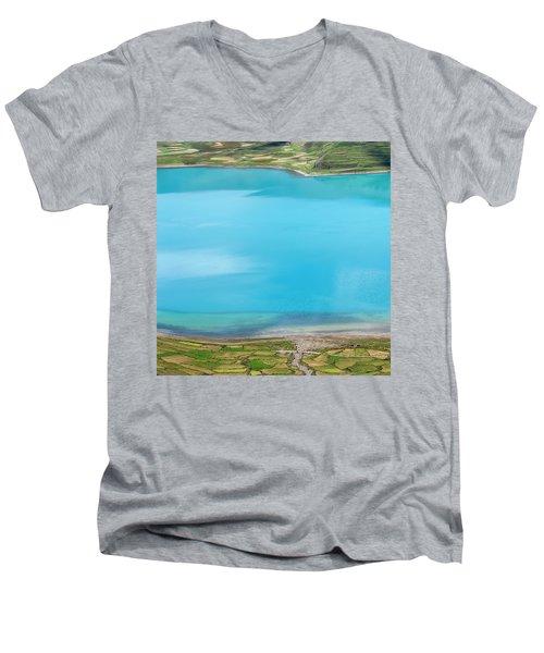Men's V-Neck T-Shirt featuring the photograph Yamdrok Abstract 2, Tibet, 2007 by Hitendra SINKAR
