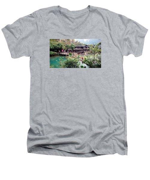 Yangtze Village Men's V-Neck T-Shirt by Vicky Tarcau
