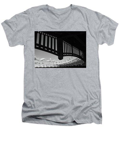 Yankee Stadium Facade - B And W Men's V-Neck T-Shirt