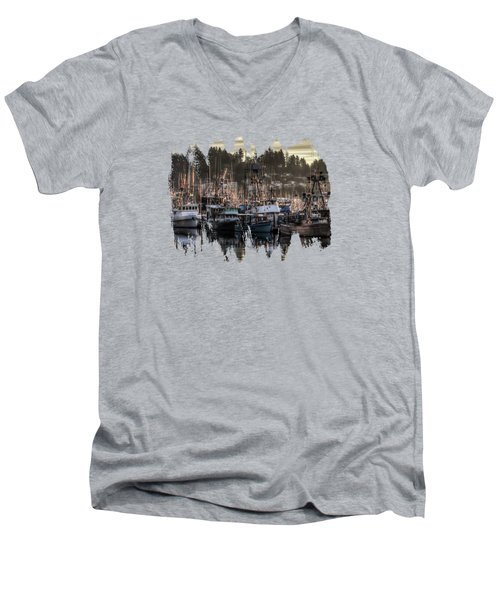 Men's V-Neck T-Shirt featuring the photograph Yaquina Bay Boat Basin At Dawn by Thom Zehrfeld