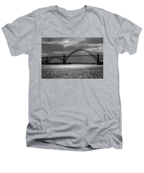 Yaquina Bay Bridge Black And White Men's V-Neck T-Shirt