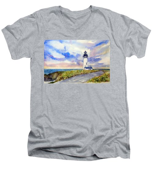 Yaquina Head Lighthouse - Springtime Men's V-Neck T-Shirt
