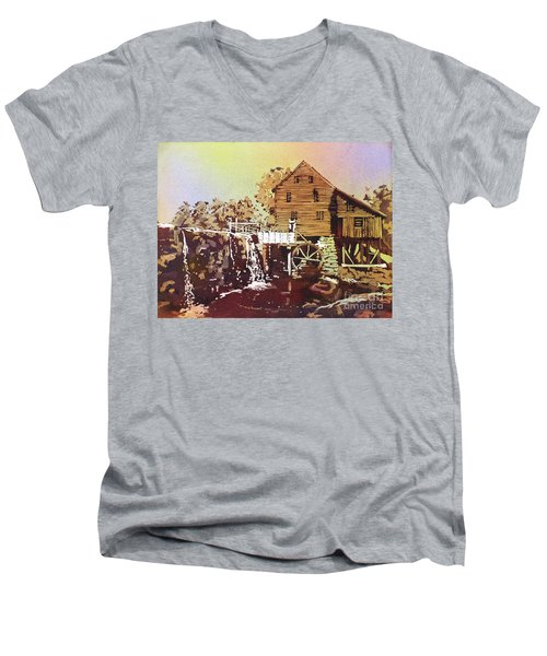 Yates Mill Park Men's V-Neck T-Shirt by Ryan Fox