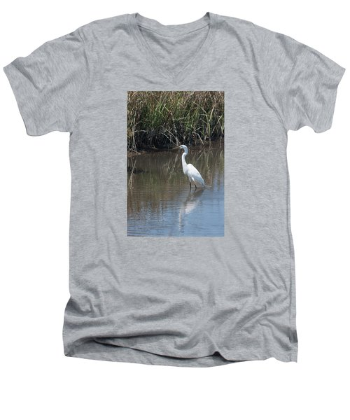 Yawkey Wildlife Refuge - Great White Egret II Men's V-Neck T-Shirt