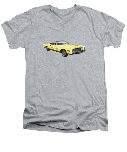 Yellow 1975 Cadillac Eldorado Convertible Men's V-Neck T-Shirt by Keith Webber Jr