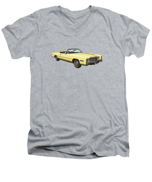 Yellow 1975 Cadillac Eldorado Convertible Men's V-Neck T-Shirt