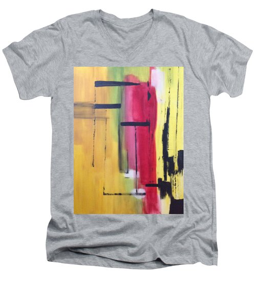 Yellow Abstract Men's V-Neck T-Shirt