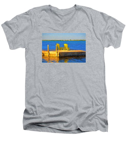 Yellow Adirondack Chairs On Dock In Florida Keys Men's V-Neck T-Shirt