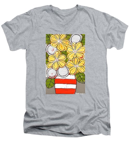 Yellow And White Flowers Men's V-Neck T-Shirt