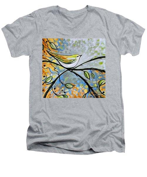 Yellow Bird Among Sage Twigs Men's V-Neck T-Shirt