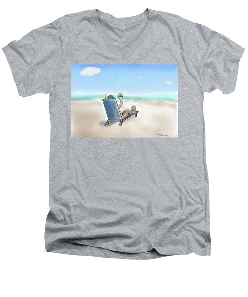 Yellow Bird Beach Selfie Men's V-Neck T-Shirt