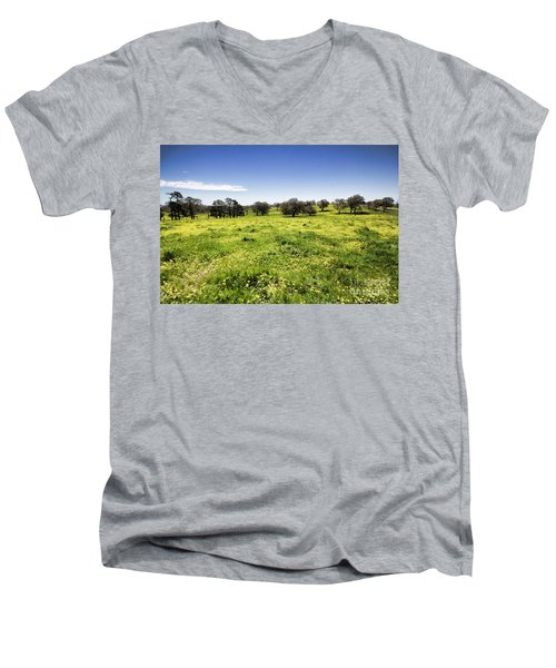 Men's V-Neck T-Shirt featuring the photograph Yellow Blanket by Douglas Barnard