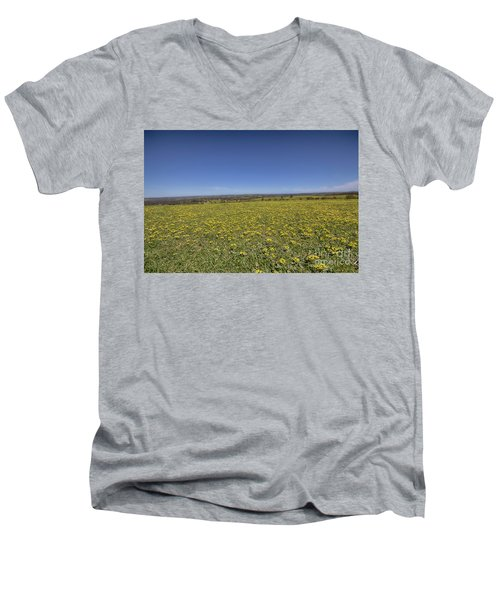 Men's V-Neck T-Shirt featuring the photograph Yellow Blanket II by Douglas Barnard
