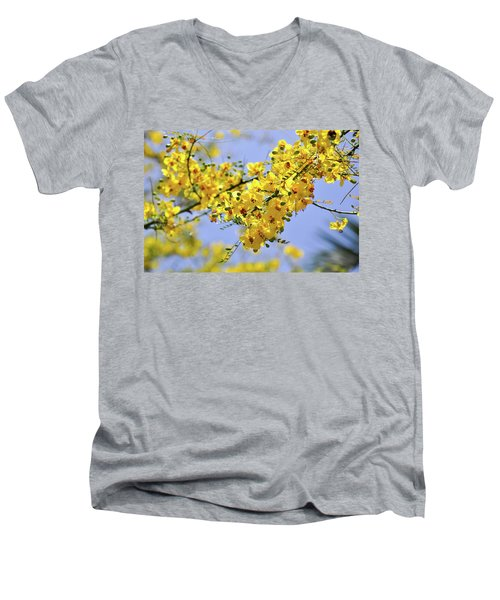 Yellow Blossoms Men's V-Neck T-Shirt by Gandz Photography