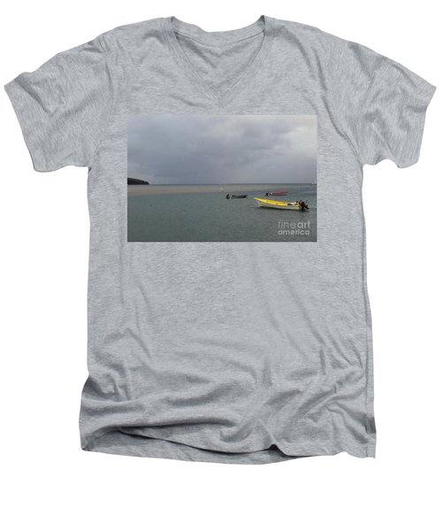 Men's V-Neck T-Shirt featuring the photograph Yellow Boat by Gary Wonning