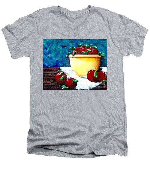 Yellow Bowl Of Apples Men's V-Neck T-Shirt by Jennifer Lake