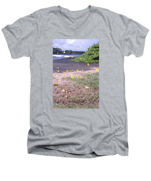Yellow Butterflies At The Beach Men's V-Neck T-Shirt
