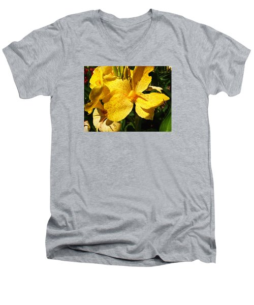 Men's V-Neck T-Shirt featuring the photograph Yellow Canna Lily by Shawna Rowe