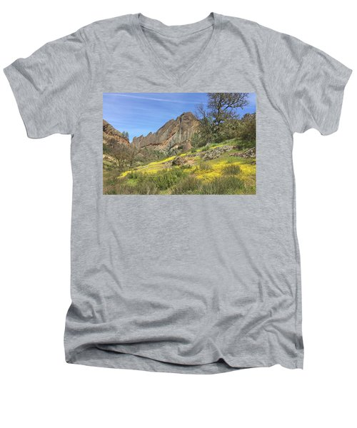 Men's V-Neck T-Shirt featuring the photograph Yellow Carpet by Art Block Collections