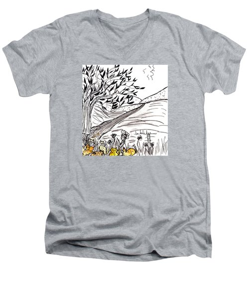 Yellow Cats Men's V-Neck T-Shirt by Lou Belcher