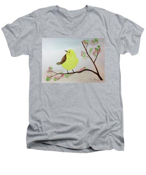 Yellow Chickadee On A Branch Men's V-Neck T-Shirt