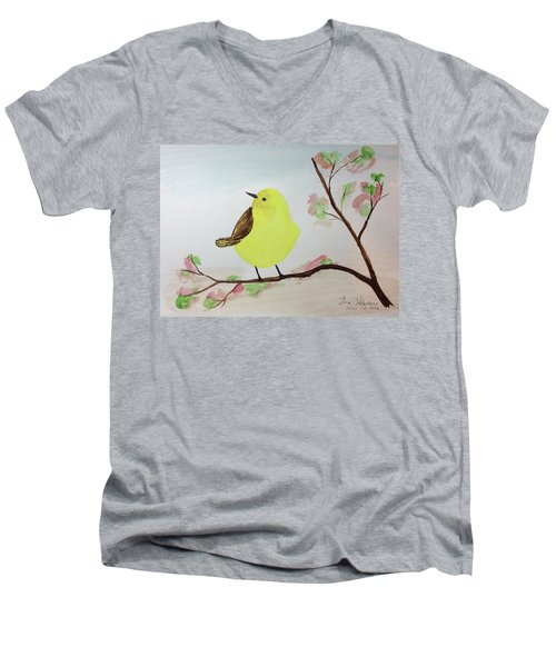 Yellow Chickadee On A Branch Men's V-Neck T-Shirt