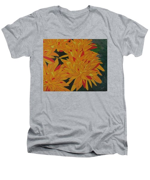 Yellow Chrysanthemums Men's V-Neck T-Shirt by Hilda and Jose Garrancho