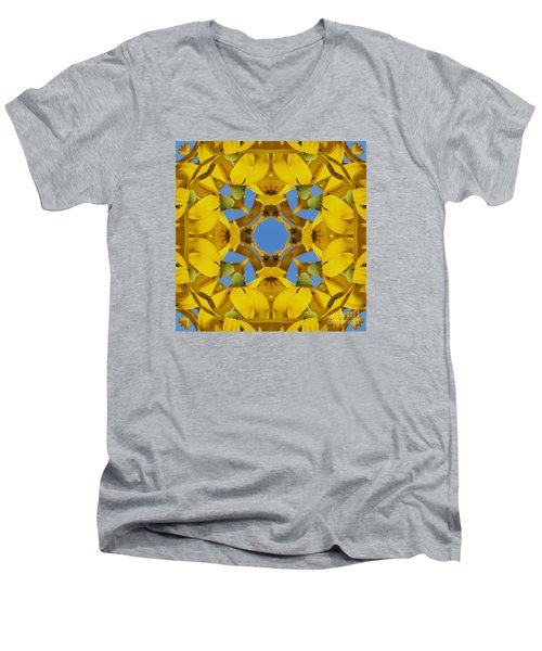 Men's V-Neck T-Shirt featuring the photograph Yellow Coneflower Kaleidoscope by Smilin Eyes  Treasures