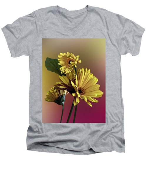 Yellow Daisy Trio Men's V-Neck T-Shirt