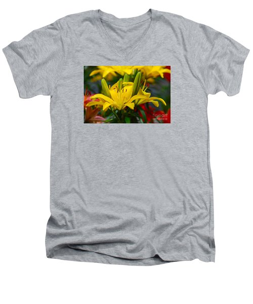 Men's V-Neck T-Shirt featuring the photograph Yellow Day Lily 20120614_55a by Tina Hopkins