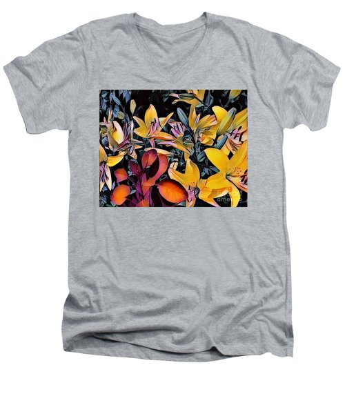 Yellow Daylilies Men's V-Neck T-Shirt by Kathie Chicoine