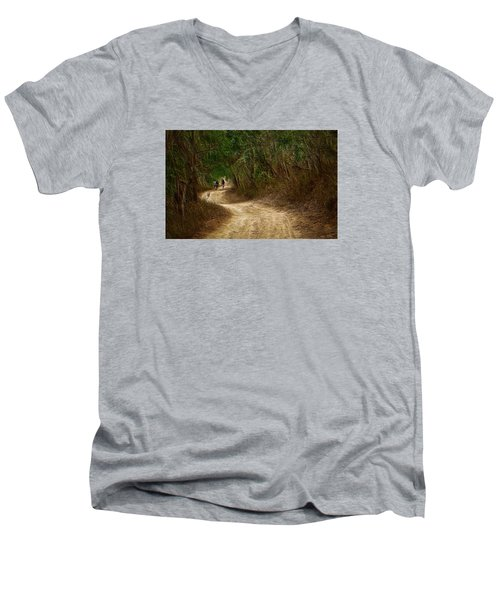 Men's V-Neck T-Shirt featuring the photograph Yellow Dust Road by Cameron Wood