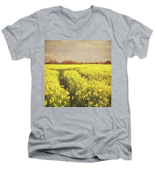 Yellow Field Men's V-Neck T-Shirt by Lyn Randle
