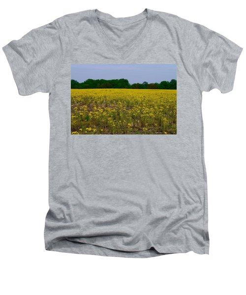 Yellow Field Men's V-Neck T-Shirt by Tim Good